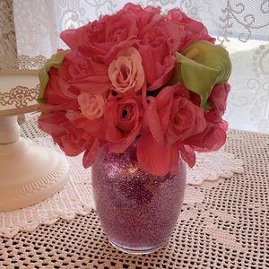 Pink Flowers in Glitter Vase!